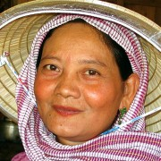 Cambodia: Lady with hat